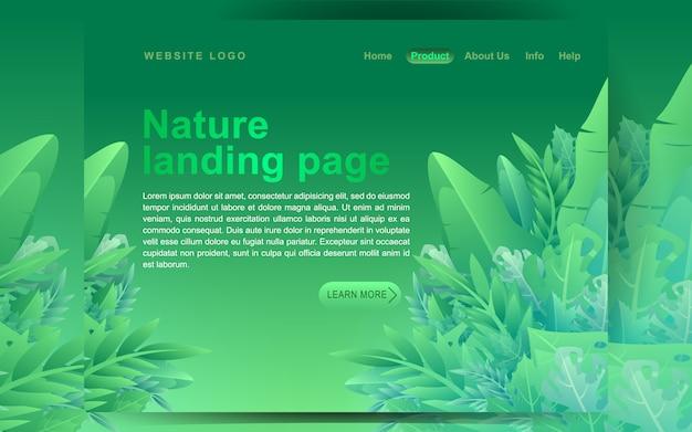 Concepto moderno de diseño plano verde. plantilla de página de aterrizaje. concepto de ilustración vectorial floral plano moderno para la página web de negocios, sitio web y sitio web móvil. ilustración de vector en estilo de dibujos animados