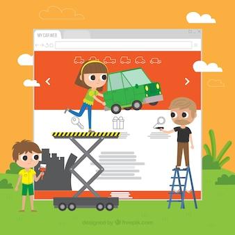 Concepto moderno de diseño web con estilo plano