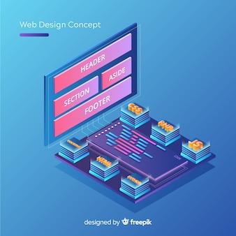 Concepto moderno de diseño web con vista isométrica