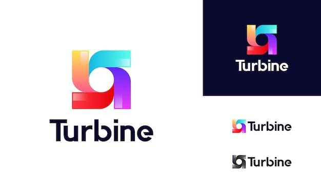Concepto moderno de diseños de logotipos de turbinas giratorias, logotipo de tecnología de energía eólica