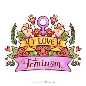 Concepto moderno de feminismo en acuarela