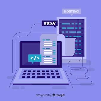 Concepto moderno de hosting con diseño plano