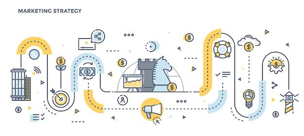 Concepto moderno de ilustración de color de línea plana de estrategia de marketing