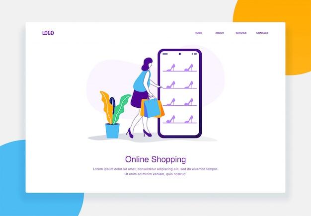 El concepto moderno de ilustración de comercio electrónico de mujeres elige tacones en el catálogo en línea mientras sostiene una bolsa de compras para la plantilla de página de destino