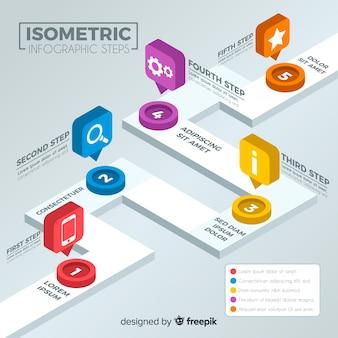Concepto moderno isométrico de pasos infográficos