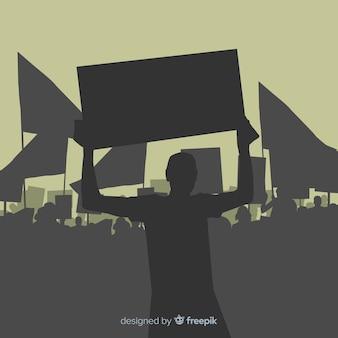 Concepto moderno de manifestación con siluetas