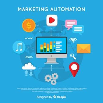 Concepto moderno de marketing online con diseño plano