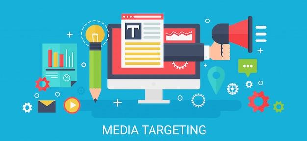 Concepto moderno medios dirigidos a banner con iconos y texto.