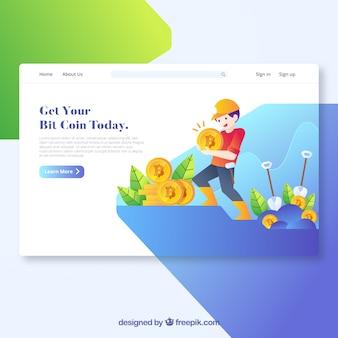 Concepto moderno de página de destino de moneda