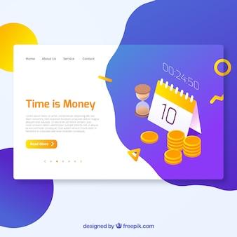 Concepto moderno de página de destino de tiempo es dinero