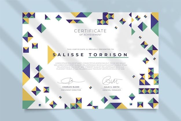 Concepto moderno de plantilla de certificado