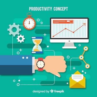 Concepto moderno de productividad con diseño plano