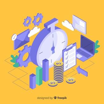 Concepto moderno de productividad con vista isométrica