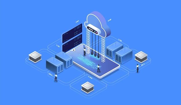 Concepto moderno de redes y tecnología en la nube. base de datos en la nube, estación de energía de servidor futurista.