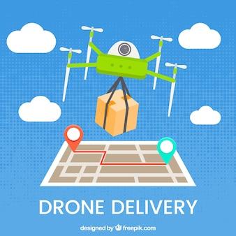 Concepto moderno de reparto con drone