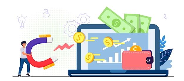 Concepto de monetización del sitio web gana dinero en línea contenido del blog y genera ingresos con la colocación de anuncios