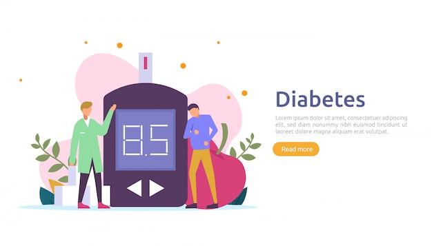 Concepto de monitoreo de diabetes mellitus. mediciones de nivel de azúcar en sangre con medidor de glucosa. tratamiento con inyección de insulina y terapia de control de la dieta. plantilla de ilustración para la página de destino web