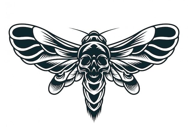 Concepto monocromo de abeja aterradora