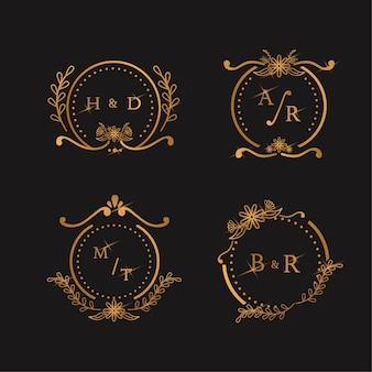 Concepto de monogramas de boda elegante