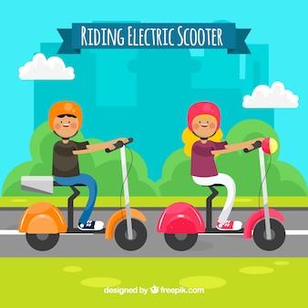 Concepto de montar moto eléctrico