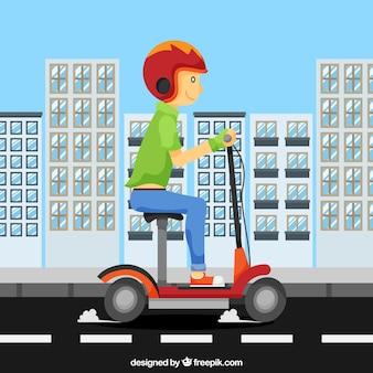 Concepto de moto eléctrico en ciudad