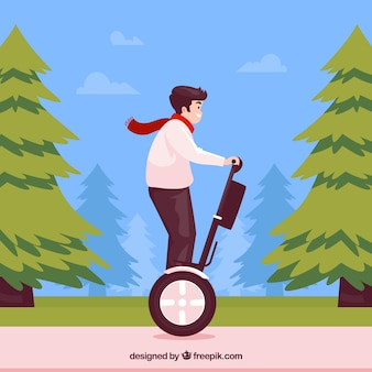 Concepto de moto eléctrico con hombre