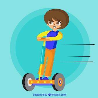 Concepto de moto eléctrico con mujer yendo rápida