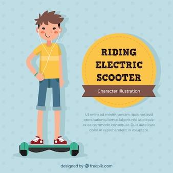 Concepto de moto eléctrico con niño sonriente
