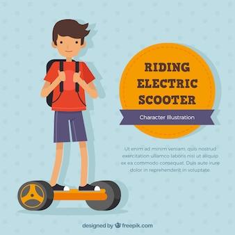 Concepto de moto eléctrico con niño