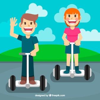 Concepto de moto eléctrico con niños graciosos