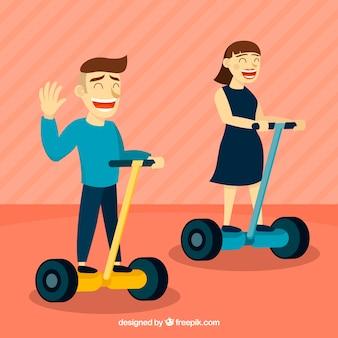 Concepto de moto eléctrico con pareja feliz