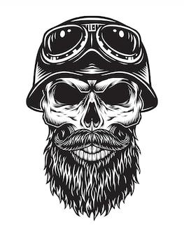 Concepto de motociclista cráneo barbudo vintage