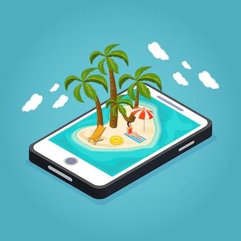 Concepto móvil isométrico de vacaciones en la playa