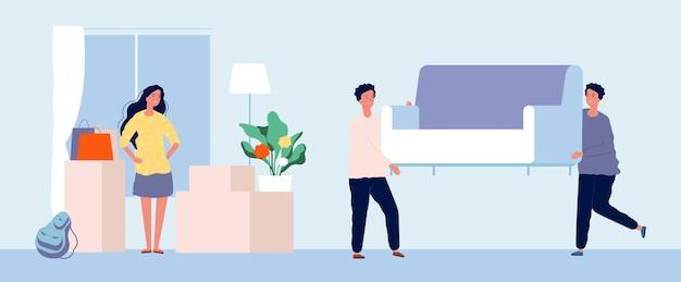 Concepto en movimiento. la mujer joven se traslada a un nuevo apartamento. servicios de mudanza de chica plana, hombres llevan ilustración de sofá. servicio de transporte y mudanza de sofá, embalaje de inauguración de la casa