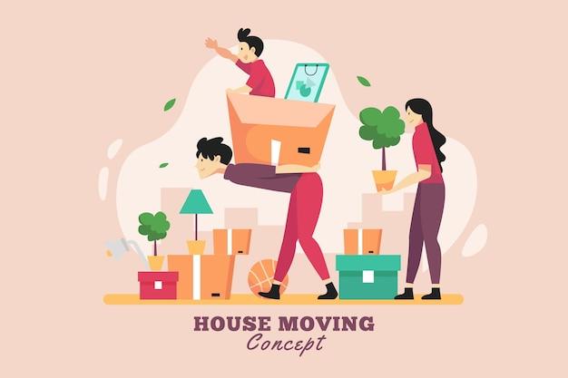 Concepto de mudanza de casa de diseño plano con familia