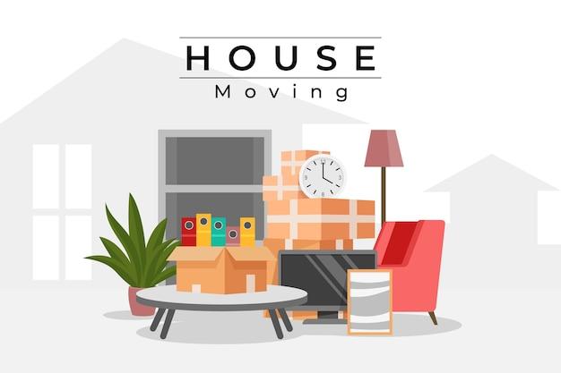 Concepto de mudanza de casa de diseño plano con muebles