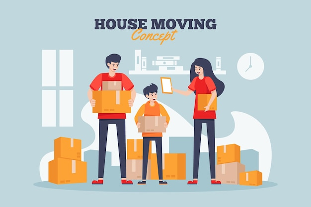 Concepto de mudanza de casa con familia
