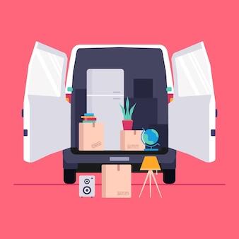 Concepto de mudanza de casa con furgoneta