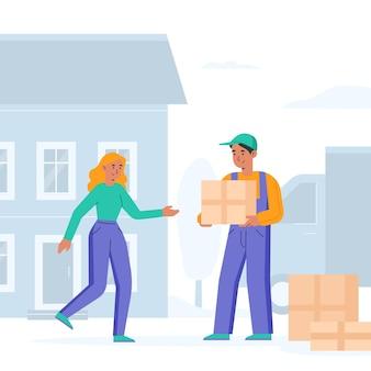 Concepto de mudanza de casa con mujer y hombre