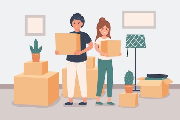 Concepto de mudanza de casa con pareja