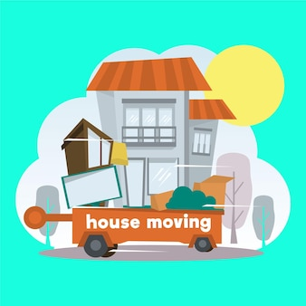 Concepto de mudanza de casa con remolque