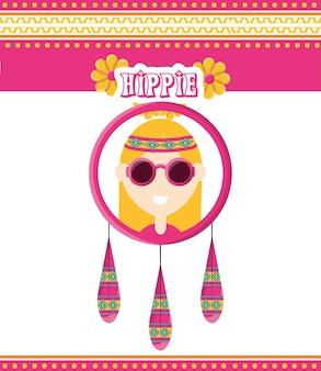 Concepto de mujer hippie paz y amor