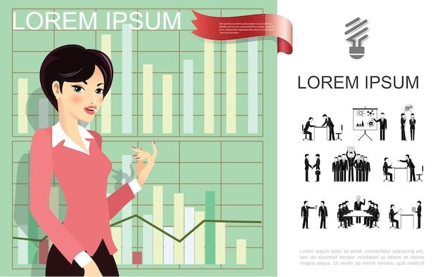 Concepto de mujer de negocios plana