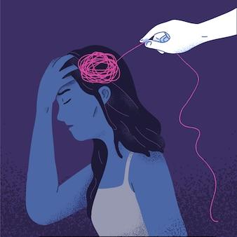 Concepto de mujer que tiene psicoterapia psicología autocuración, recuperación, porque se siente rehabilitación mental incompleta en ilustración vectorial plana