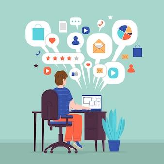 Concepto de multitarea con hombre en la computadora