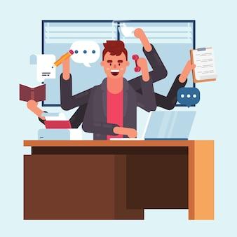 Concepto de multitarea de hombre de oficina