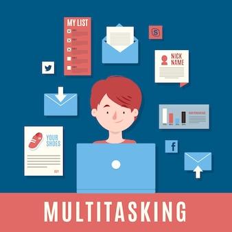 Concepto multitarea ilustrado con el hombre que trabaja en la computadora portátil