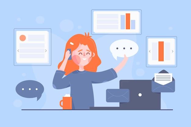Concepto multitarea con mujer en el escritorio ilustrado
