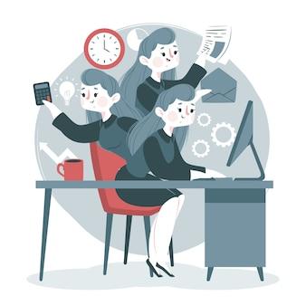 Concepto de multitarea con mujer trabajando