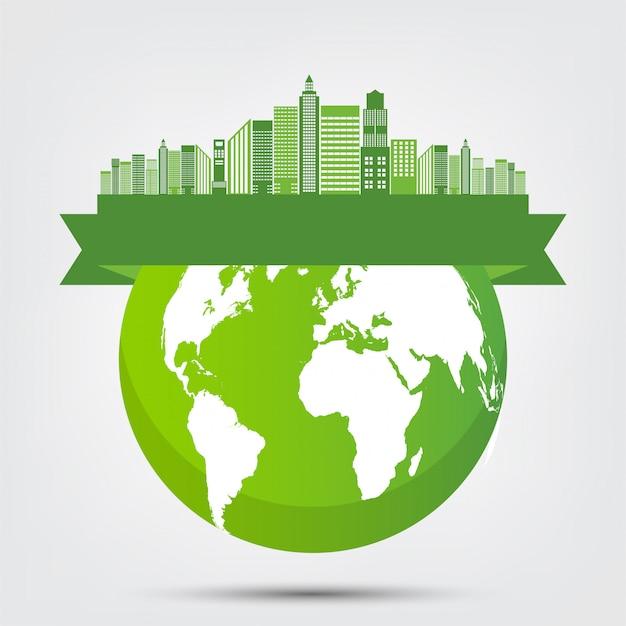 Concepto mundo medio ambiente y símbolo de la tierra con hojas verdes alrededor de las ciudades